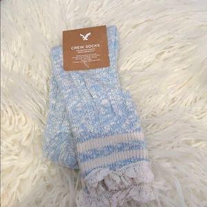AE Blue and White Crew Socks